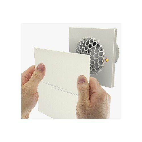 Abluftventilator mit geb/ürsteter Frontblende aus Aluminium Timer inkl
